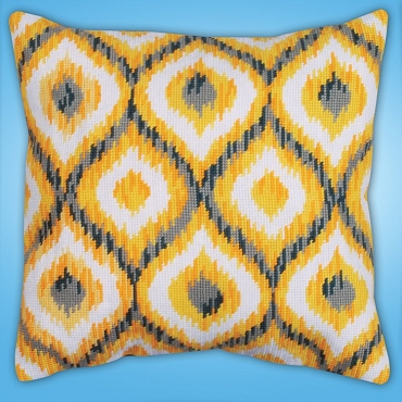 Yellow Ikat 12 x 12 inch Needlepoint Pillow or Picture Kit